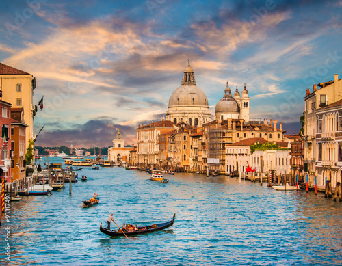 Fotografering  Canal Grande with Santa Maria Della Salute at sunset, Venice, Italy