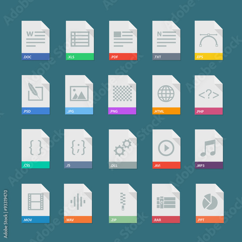 Fotografía  A set of flat icons of file formats