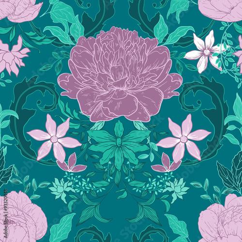 Vintage floral background Canvas Print