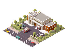 Vector Isometric Fire Station