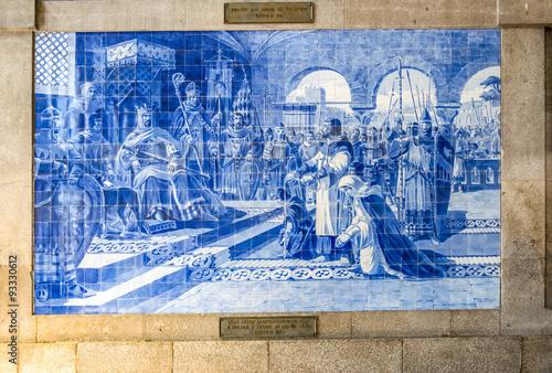 Canvas Prints Artistic monument Azulejo at São Bento Railway Station, Porto, Portugal