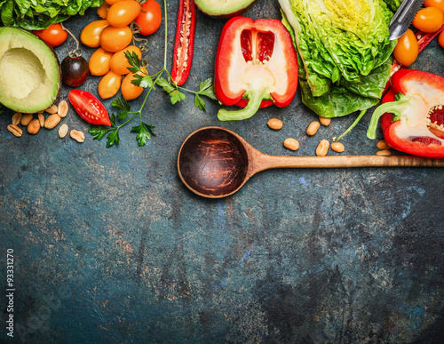 Tuinposter Groenten Colorful organic vegetables with wooden spoon , ingredients for salad
