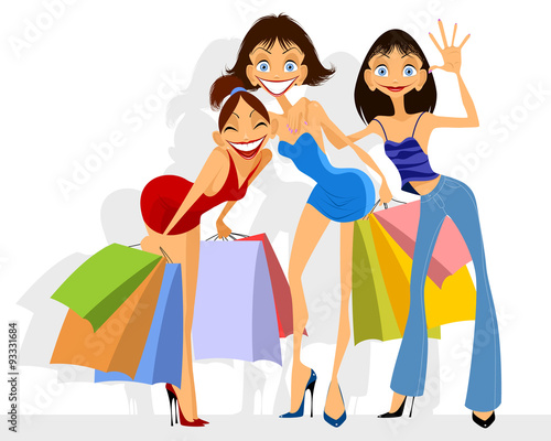 Poster Superheroes Three girls shopping