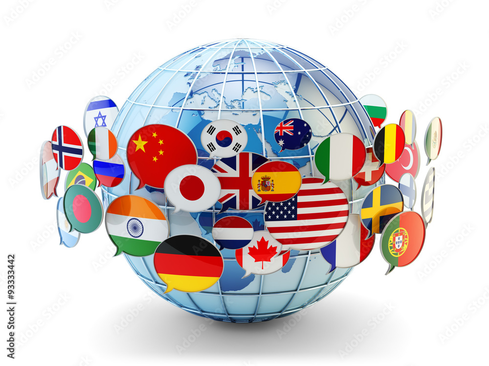 Fototapety, obrazy: Global communication, international messaging and translation concept, speech bubbles with national flags of world countries around blue Earth globe isolated on white background