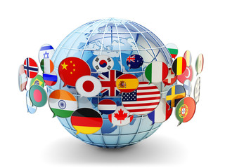 Fototapeta Global communication, international messaging and translation concept, speech bubbles with national flags of world countries around blue Earth globe isolated on white background