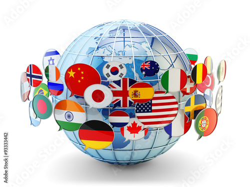 Valokuva Global communication, international messaging and translation concept, speech bu