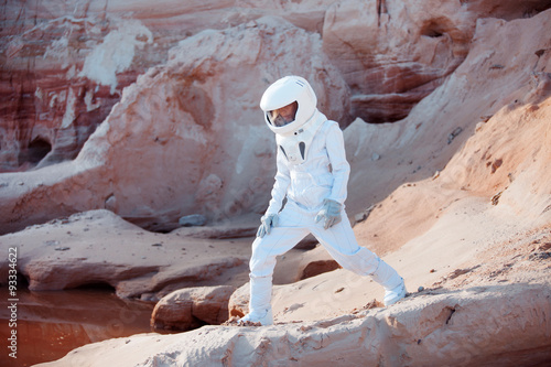 Astronaut looking for water in place like Mars