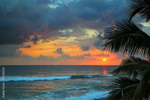piekne-morze-zachod-slonca-i-liscie-palmowe