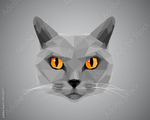 Платно Grey cat with orange eyes - polygonal style.