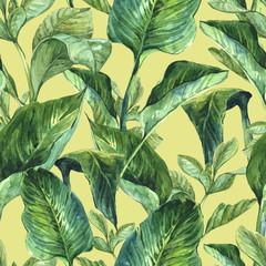 Fototapeta Współczesny Watercolor Seamless Background with Tropical Leaves