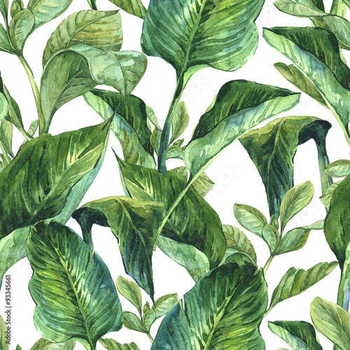 Cuadros en Lienzo Watercolor Seamless Background with Tropical Leaves
