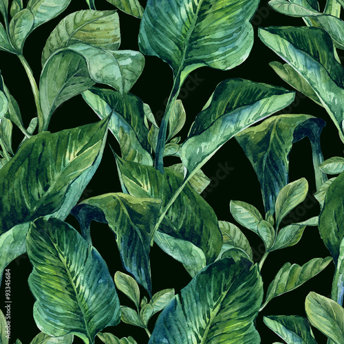 Plissee mit Motiv - Watercolor Seamless Background with Tropical Leaves (von depiano)