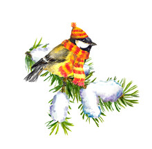Vintage Greeting Card With Retro Painted Bullfinch In Red Hat