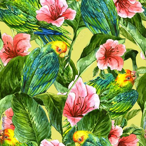 bezszwowe-tlo-z-tropikalnych-lisci-papugi-i-hibiskusa