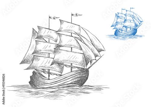In de dag Schip Sketch of sailing ship under full sail