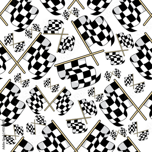 Cotton fabric Seamless pattern of motor racing flags