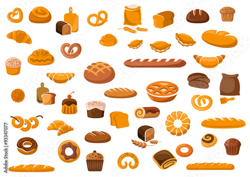 Bakery and pastry products icons Canvas-taulu