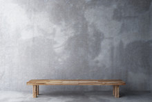 Wooden Bench In A Room With Co...