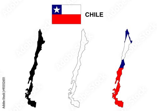 Chile map vector, Chile flag vector, isolated Chile - Buy this stock on