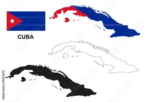Cuba map vector, Cuba flag vector, isolated Cuba Wallpaper Mural
