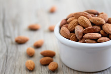 Bowl Of Almond Nuts On Rustic ...