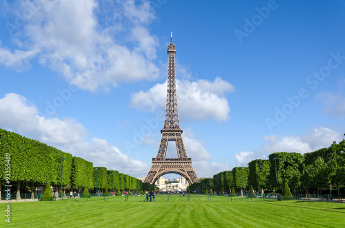Eiffel Tower with blue sky in Paris Poster