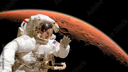 Deurstickers Nasa Close up of an astronaut in outer space, planet Mars in the background. Elements of the image are furnished by NASA