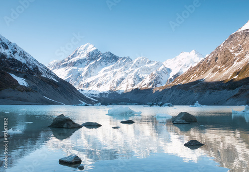 Poster Glaciers Reflection of mt Cook in Hooker Lake, Aoraki National Park, New