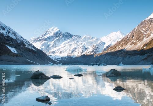 Printed kitchen splashbacks Glaciers Reflection of mt Cook in Hooker Lake, Aoraki National Park, New