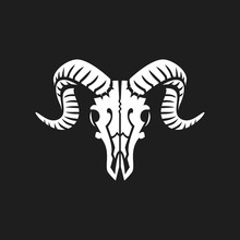 Ram Skull Logo Or Icon White On Black