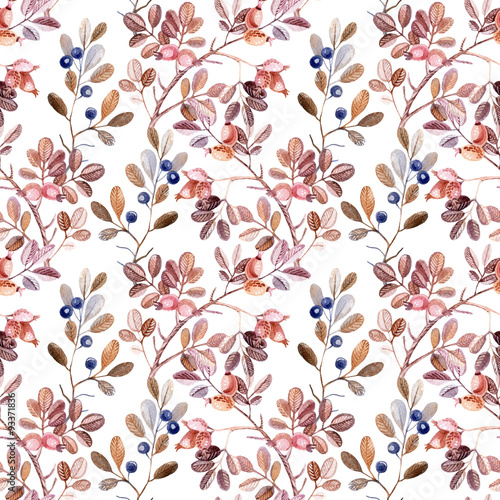 Valokuva  Watercolor seamless pattern with branches