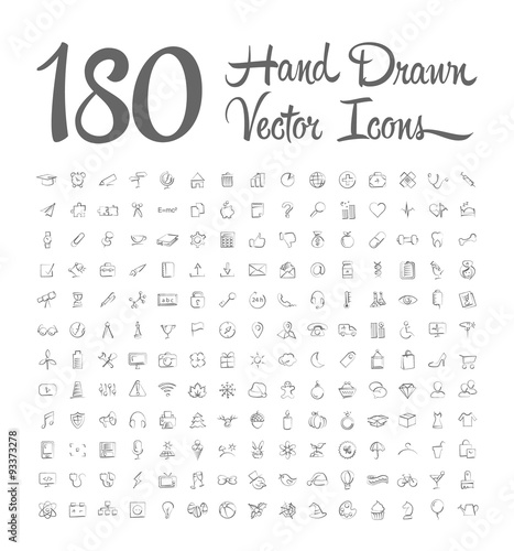 Fotografie, Obraz  hand drawn vector icons on white background