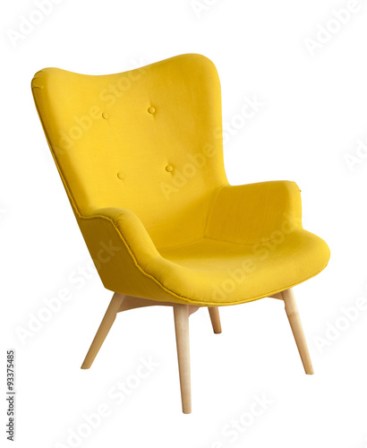 Valokuva  Yellow modern chair isolated on white