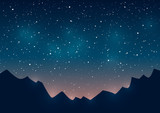 Fototapeta Na sufit - Mountains silhouettes on starry background