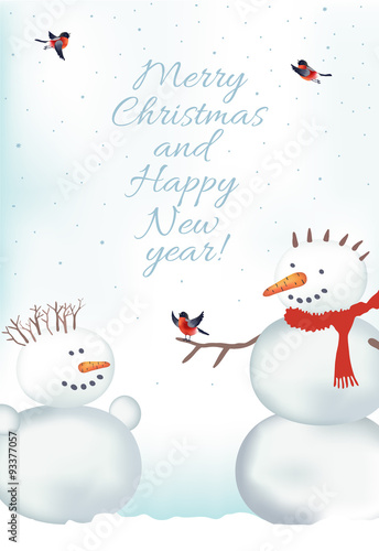 Fototapety, obrazy: Christmas card with snowmen