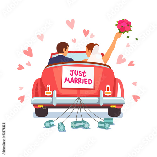 Foto op Canvas Cartoon cars Newlywed couple is driving car for their honeymoon