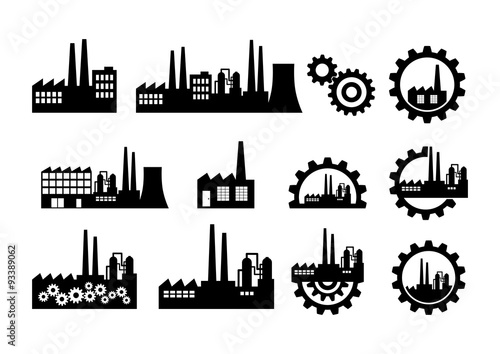 Valokuvatapetti Black factory icons on white background
