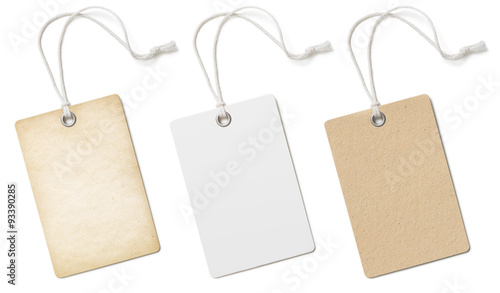 Fotografia  Blank cardboard price tags or labels set isolated