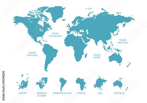 Fotografie, Obraz  Carte du monde, continent et océans