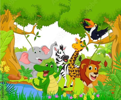 Animal cartoon in the jungle #93397832