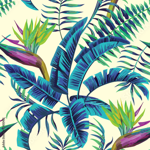 Foto  tropical exotic painting seamless background