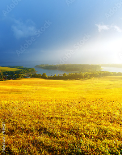 Beautiful landscape, yellow meadow and lake with mountain