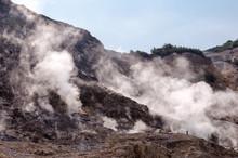 Fumarole And Crater Walls Inside Active Vulcano Solfatara