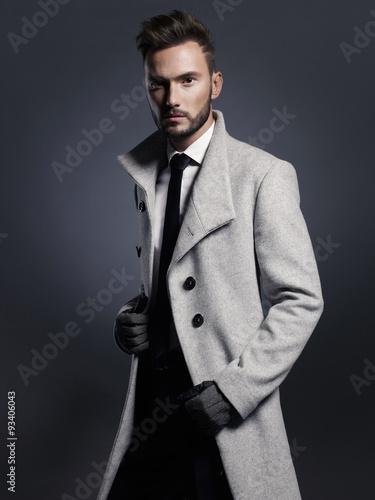 Fotografie, Obraz  Handsome stylish man in autumn coat