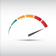 Color Vector Tachometer,  Speedometer Icon, Performance Measurement Symbol