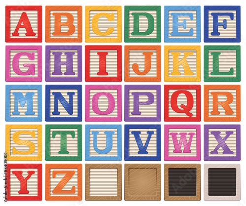 Wooden Alphabet Blocks Wallpaper Mural