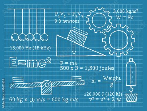 Fotografie, Obraz  Physics, Science, School, Blueprint