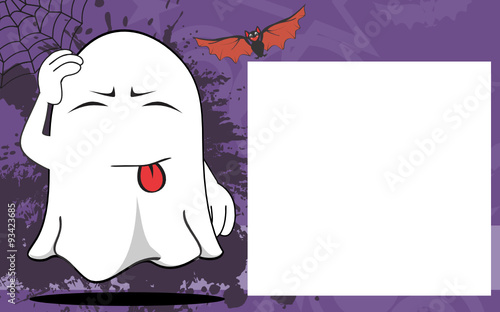 Canvas Prints Illustration Paris ghost halloween cartoon expressions frame background in vector format