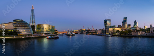 City on the water Panoramic view of Thames river with modern London cityscape