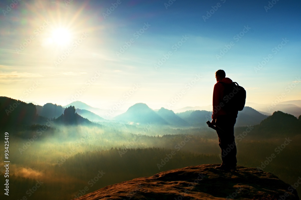 Fototapety, obrazy: The photographer think about picture at sunset in the misty mountains
